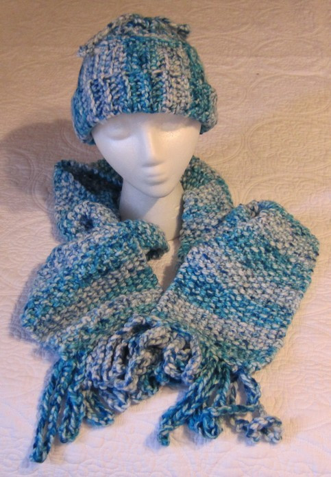 Inspirational Knitted Scarf and Crochet Hat Set In Multi Color Blues and Crochet Hat and Scarf Set Of Amazing 44 Models Crochet Hat and Scarf Set