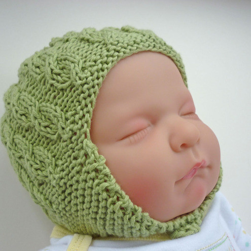 Knitting Pattern PDF Baby Hat with earflaps and cable design ADDISON