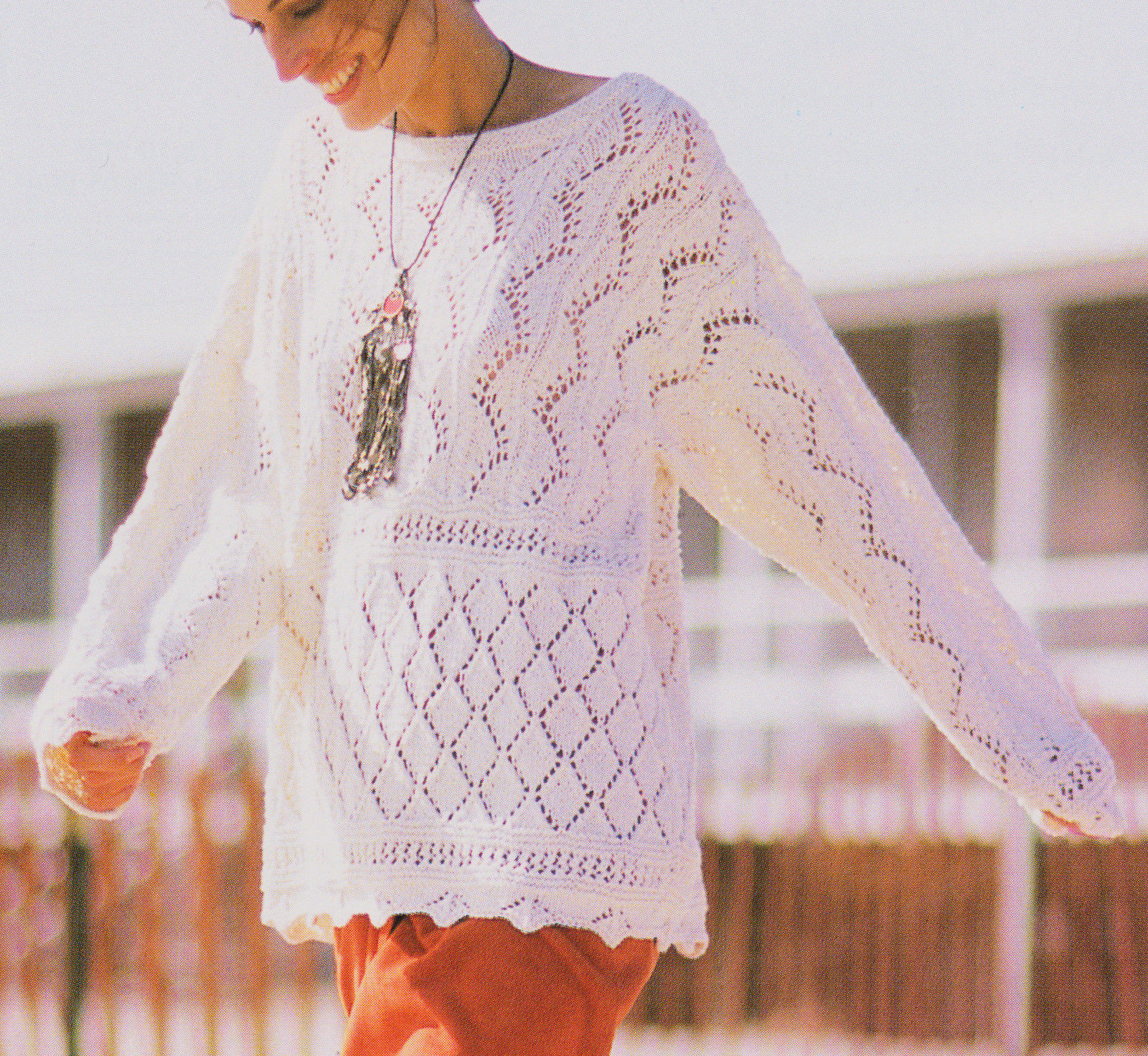 Lace Sampler Summer Sweater Knitting Pattern S M L in DK