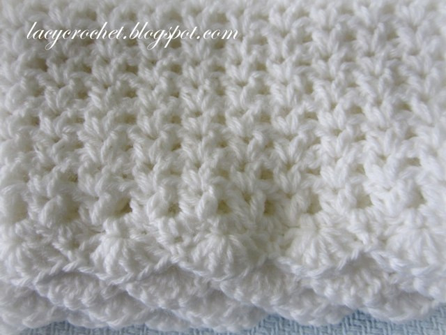 Inspirational Lacy Crochet V Stitch Baby Afghan with Scalloped Trim Simple Crochet Baby Blanket Of Marvelous 48 Pictures Simple Crochet Baby Blanket