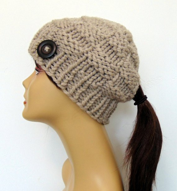 Inspirational Linen Chunky Knit Ponytail Hat Tan Taupe Beanie Pony Tail Hole Beanie Hat with Ponytail Hole Of Incredible 47 Photos Beanie Hat with Ponytail Hole