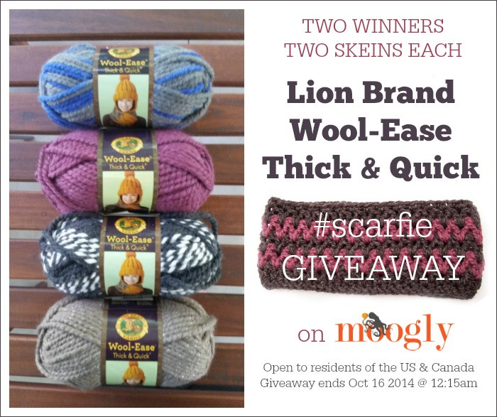 Lion Brand Scarfie Yarn Giveaway moogly