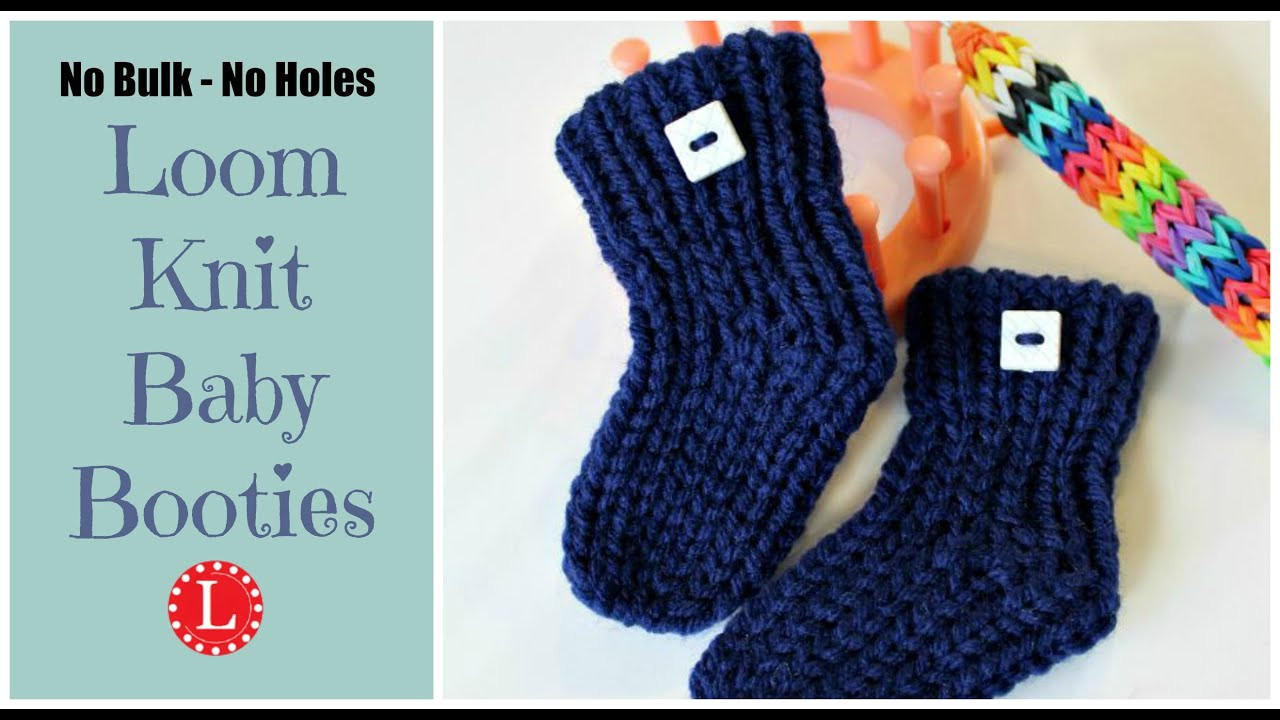 LOOM KNIT Baby Booties Quick No Holes No Bulk Ste