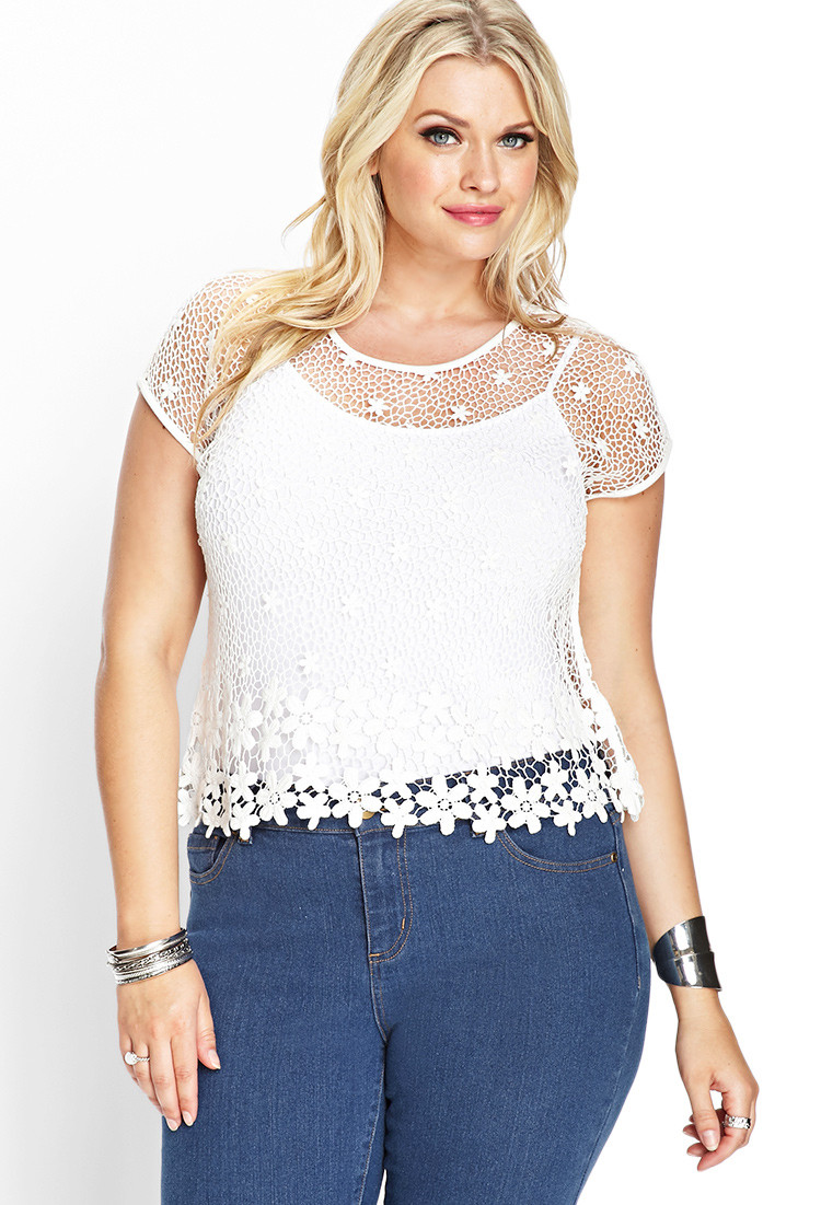 Inspirational Lyst forever 21 Sheer Floral Crochet top In White Crochet tops forever 21 Of Beautiful forever 21 Scalloped Crochet top In Beige Cream Crochet tops forever 21