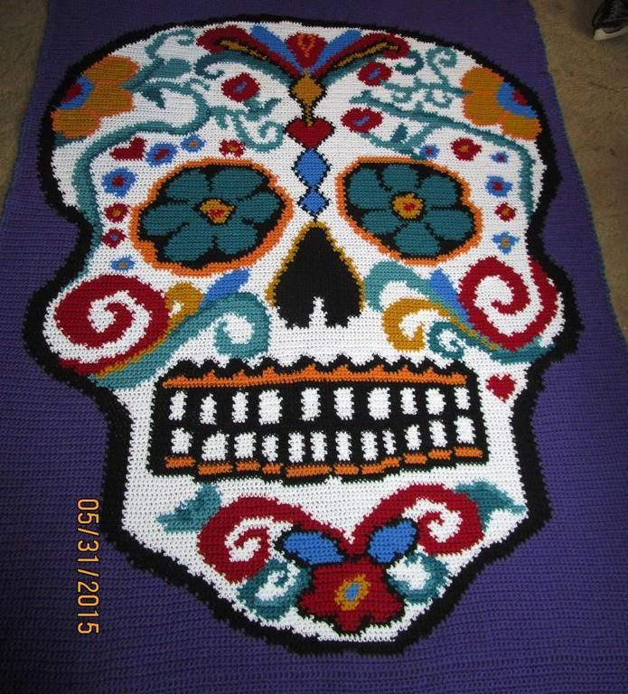 Inspirational Más De 1000 Imágenes sobre Crochet Afghans & Pillows En Crochet Sugar Skull Of Incredible 47 Pictures Crochet Sugar Skull