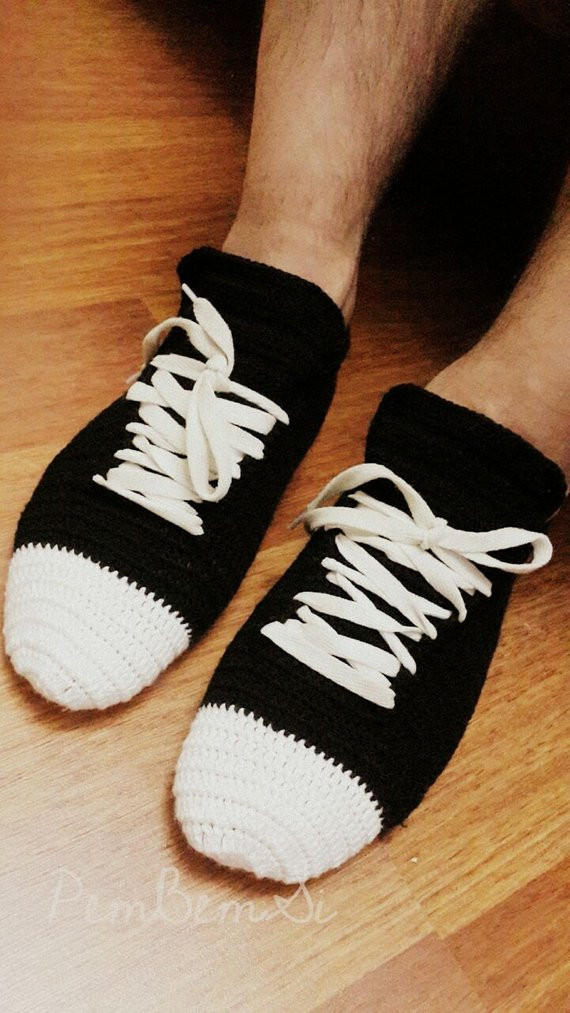 Men s Crochet Adult Converse Slippers For Man Home Shoe
