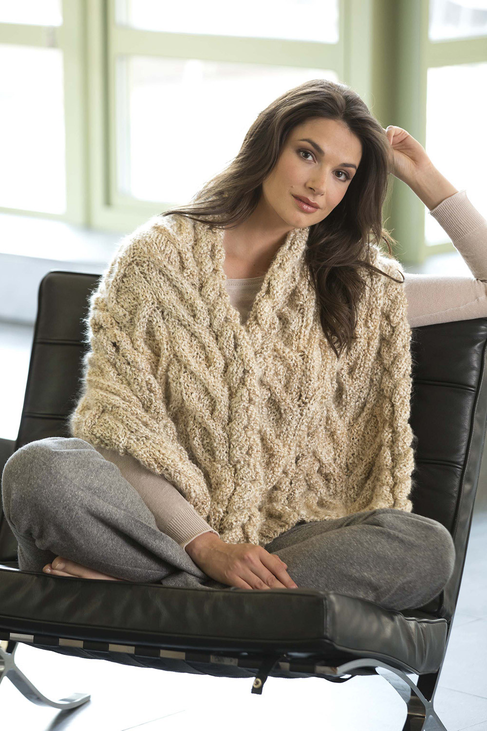 Modern Cable Shawl in Lion Brand Homespun L