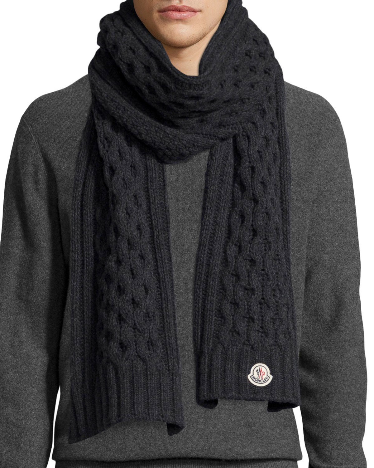 Inspirational Moncler Men S Cable Knit Cashmere Scarf In Black for Men Cable Knit Scarf Of Delightful 48 Ideas Cable Knit Scarf