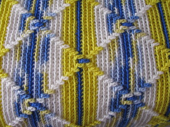 Inspirational Navajo Pattern Crocheted Afghan In Blues and Yellows Navajo Crochet Pattern Of Perfect 48 Pics Navajo Crochet Pattern