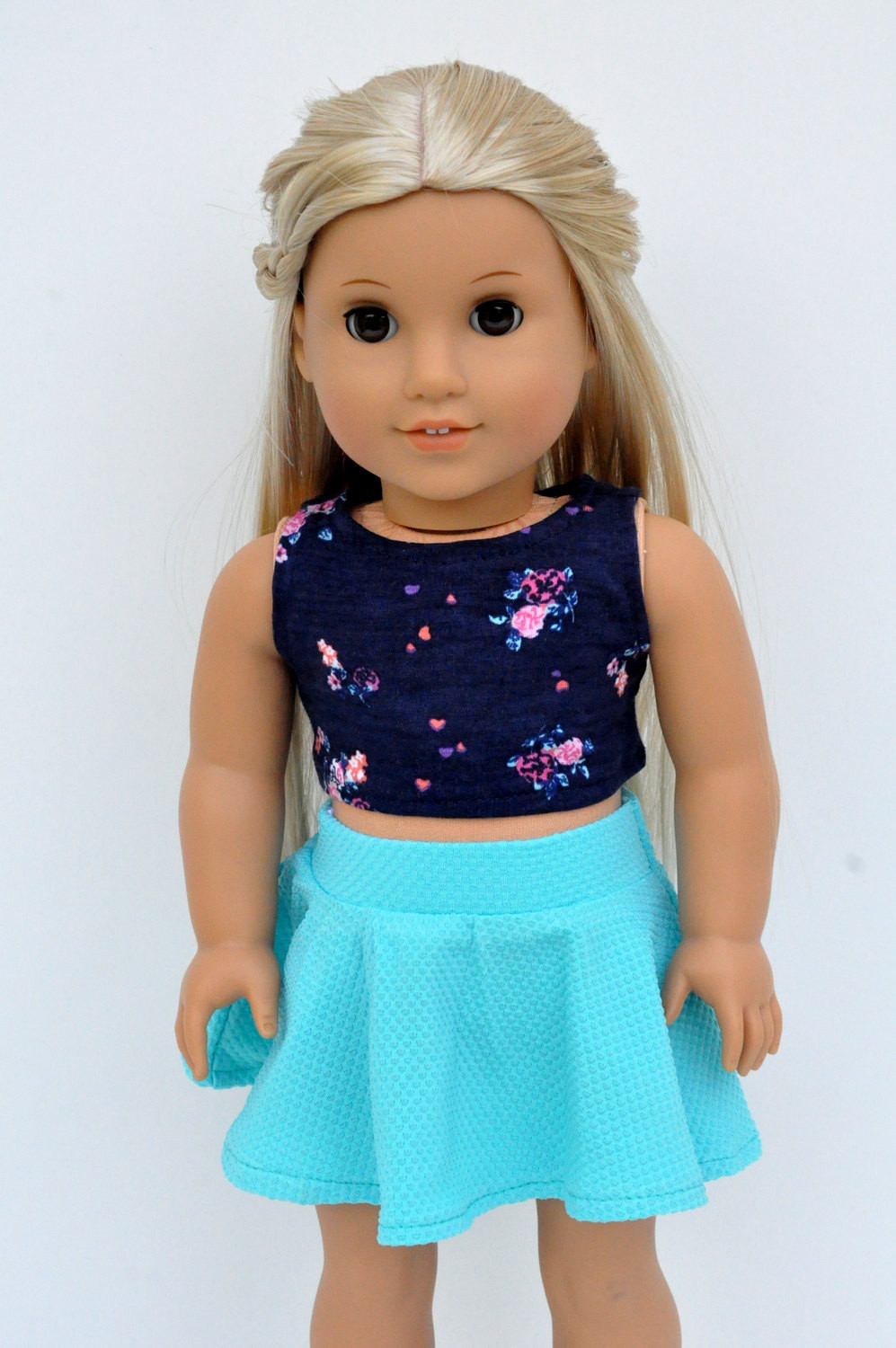Inspirational Navy Floral Crop top with Turquoise Skater Skirt 18 Inch Doll American Girl Doll Skirts Of Incredible 50 Ideas American Girl Doll Skirts