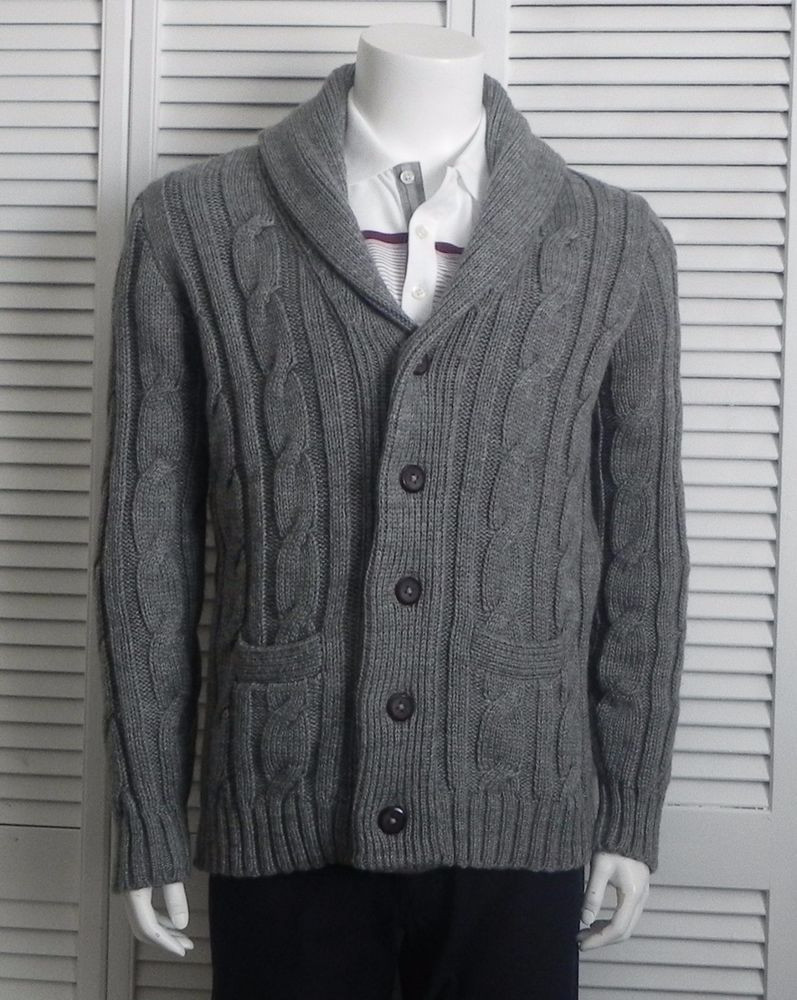 Inspirational New Mens Size Xl Alpaca Gray Grey Cable Knit Shawl Collar Mens Cable Cardigan Of Top 48 Pics Mens Cable Cardigan