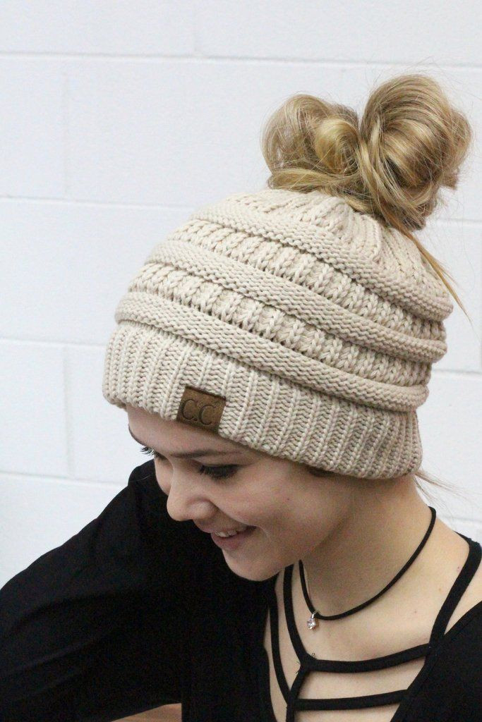 Inspirational original Cc with Messy Bun Hole In the top Beige Cc Beanie with Bun Hole Of Amazing 46 Photos Beanie with Bun Hole