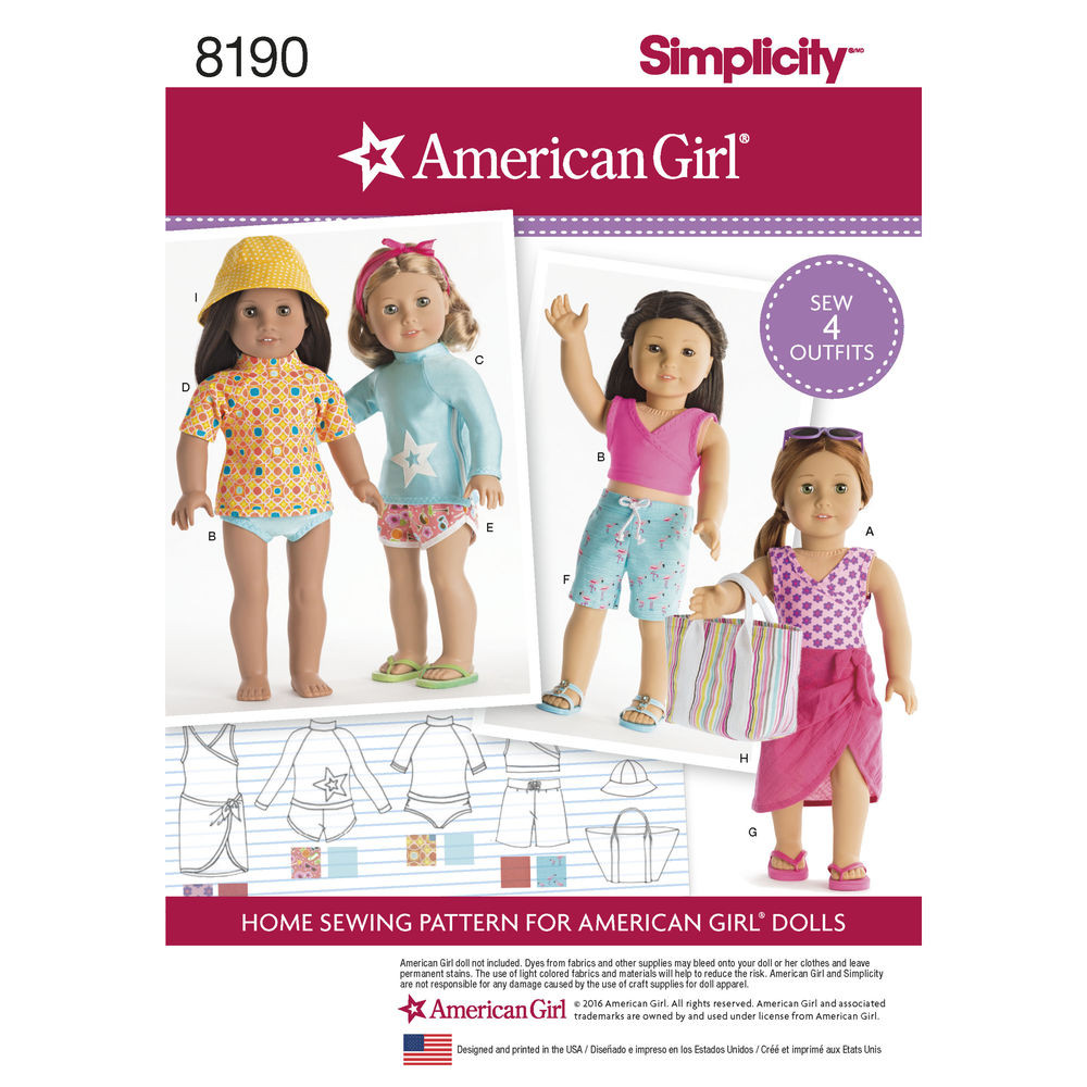 """Pattern 8190 American Girl Doll Clothes for 18"""" Doll"""