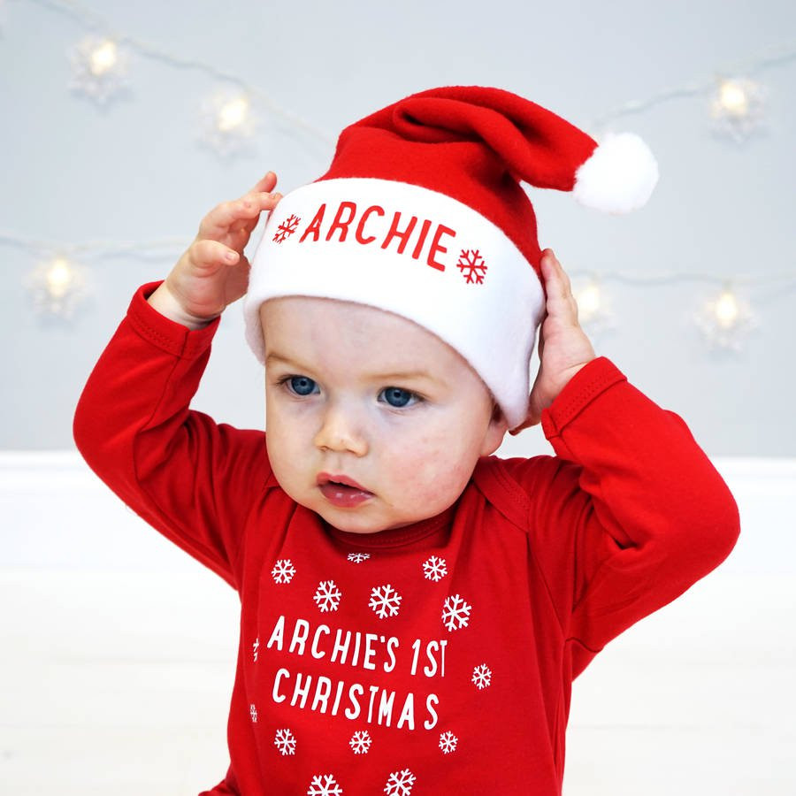 personalised baby santa hat by sparks clothing