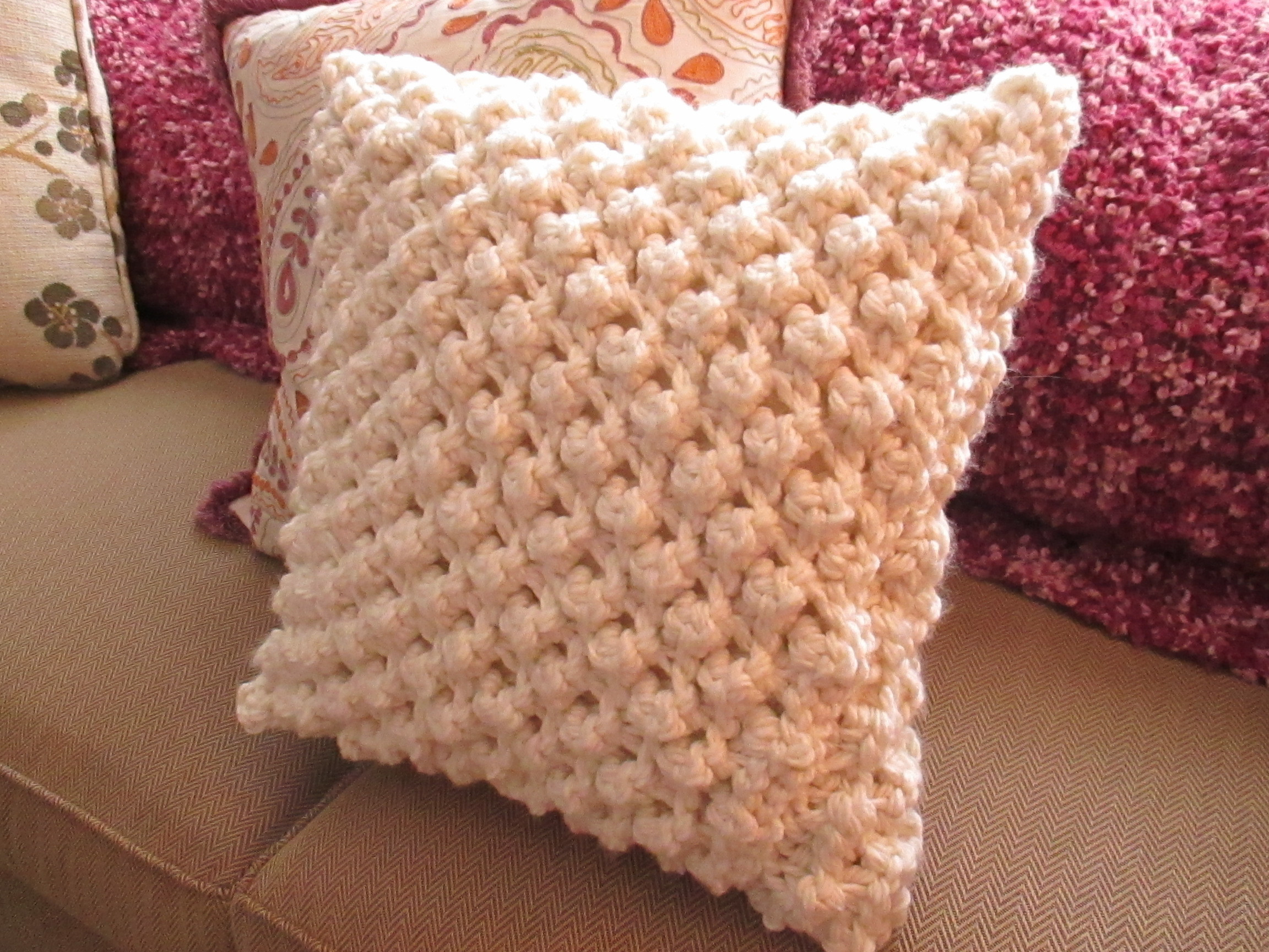 Inspirational Popcorn Knit Pillow Cover · How to Stitch A Knit Crochet Pillow Covers Of Incredible 47 Pics Crochet Pillow Covers