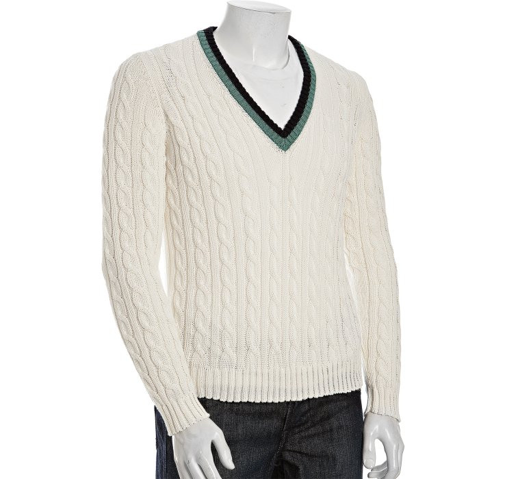 Inspirational Prada Sport White Cotton Cable Knit V Neck Sweater In V Neck Cable Knit Sweater Of Great 44 Pictures V Neck Cable Knit Sweater