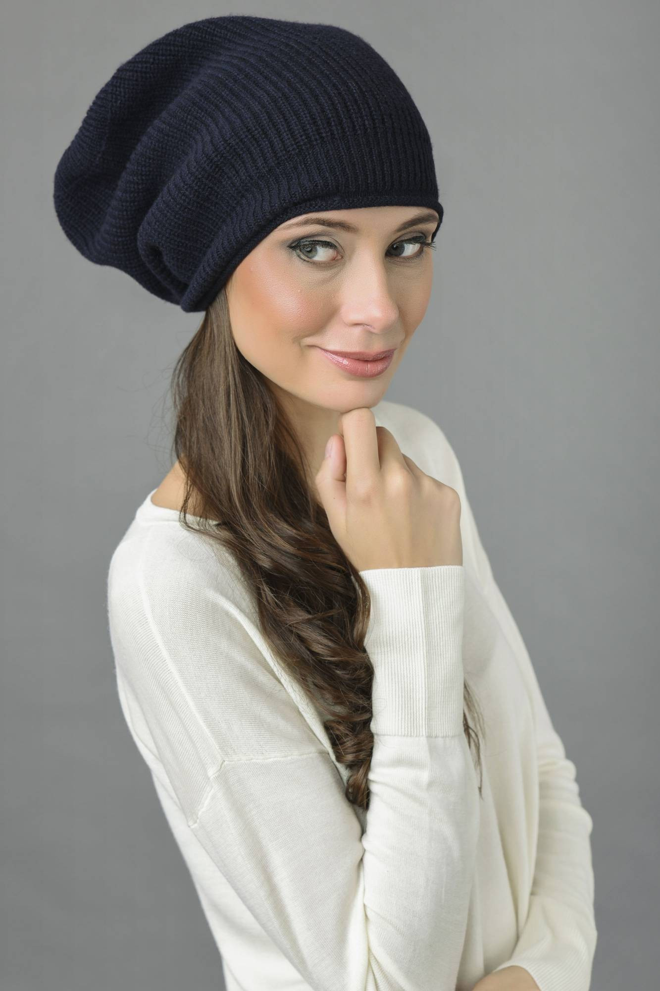 Inspirational Pure Cashmere Ribbed Knitted Slouchy Beanie Hat In Navy Knit Slouchy Beanie Of Lovely 42 Images Knit Slouchy Beanie