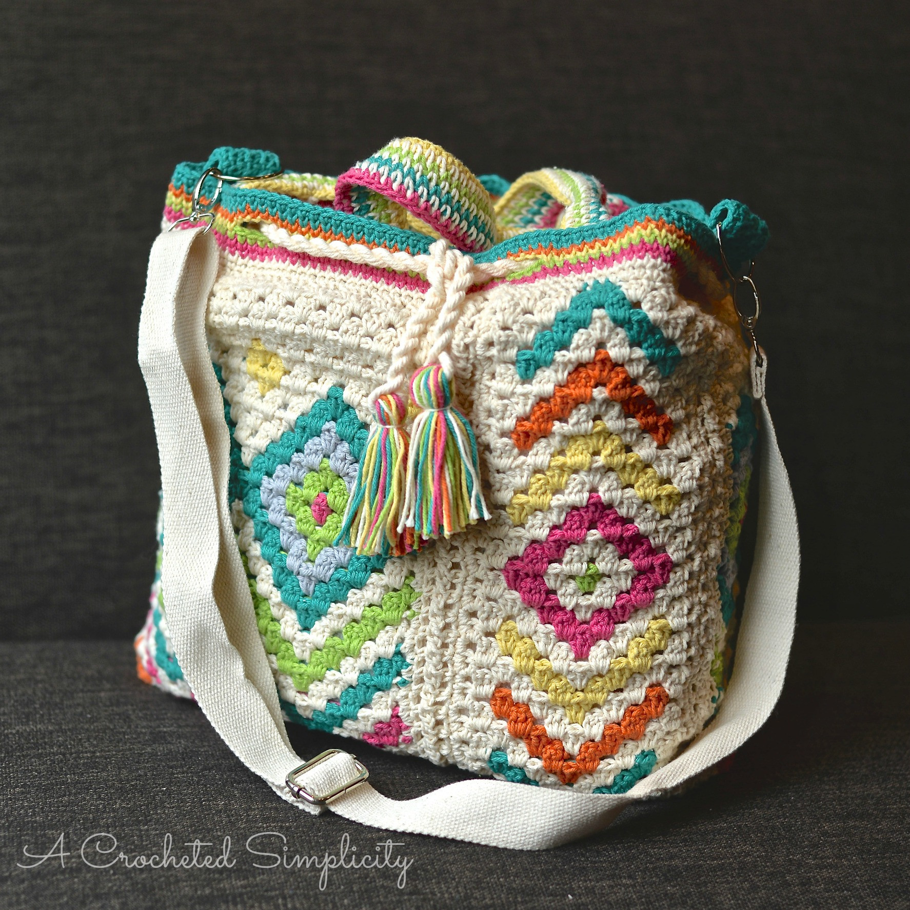 "Inspirational ""boho Chic"" Mosaic tote Bag A Crocheted Simplicity Crochet tote Of Adorable 41 Images Crochet tote"