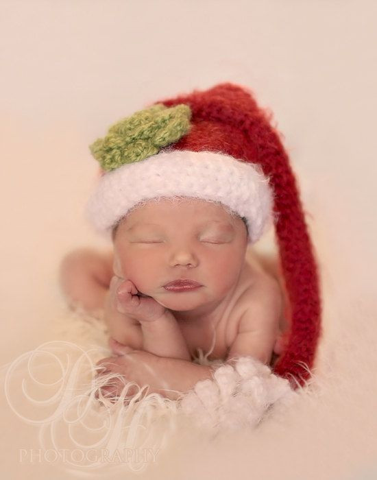 Santa Baby Hat Newborn Crochet Hat Santa Stocking by