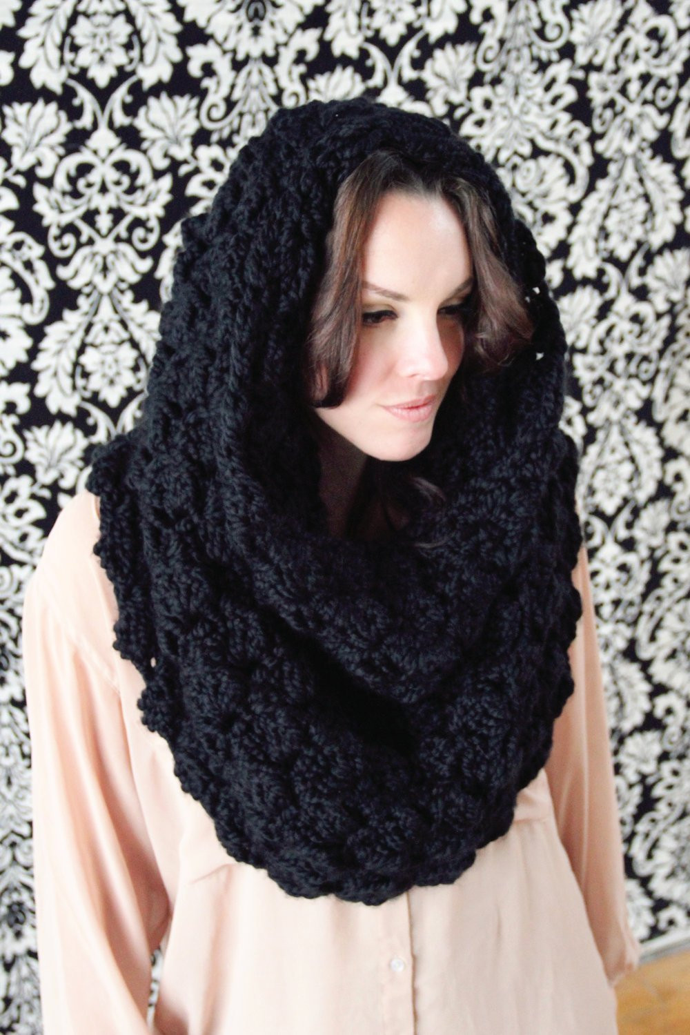 SCARF CROCHET PATTERN Hooded Cowl Convertible Wrap Over sized