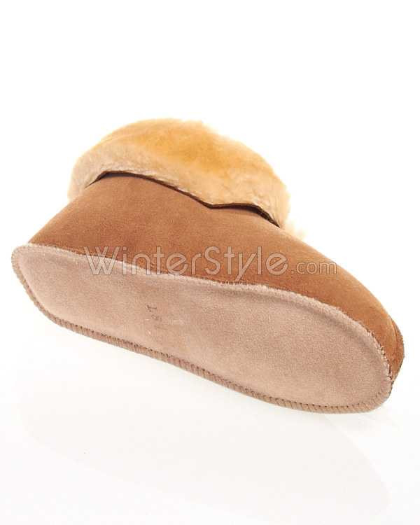 Sheepskin Slipper with Roll up Cuff and Soft Leather Sole
