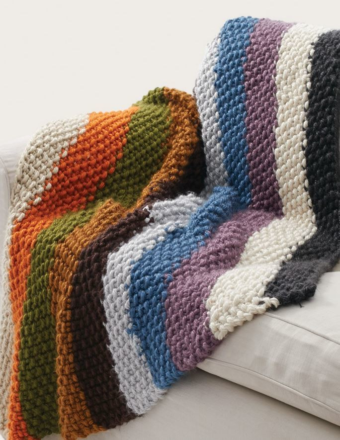 simple striped seed stitch afghan from bernat