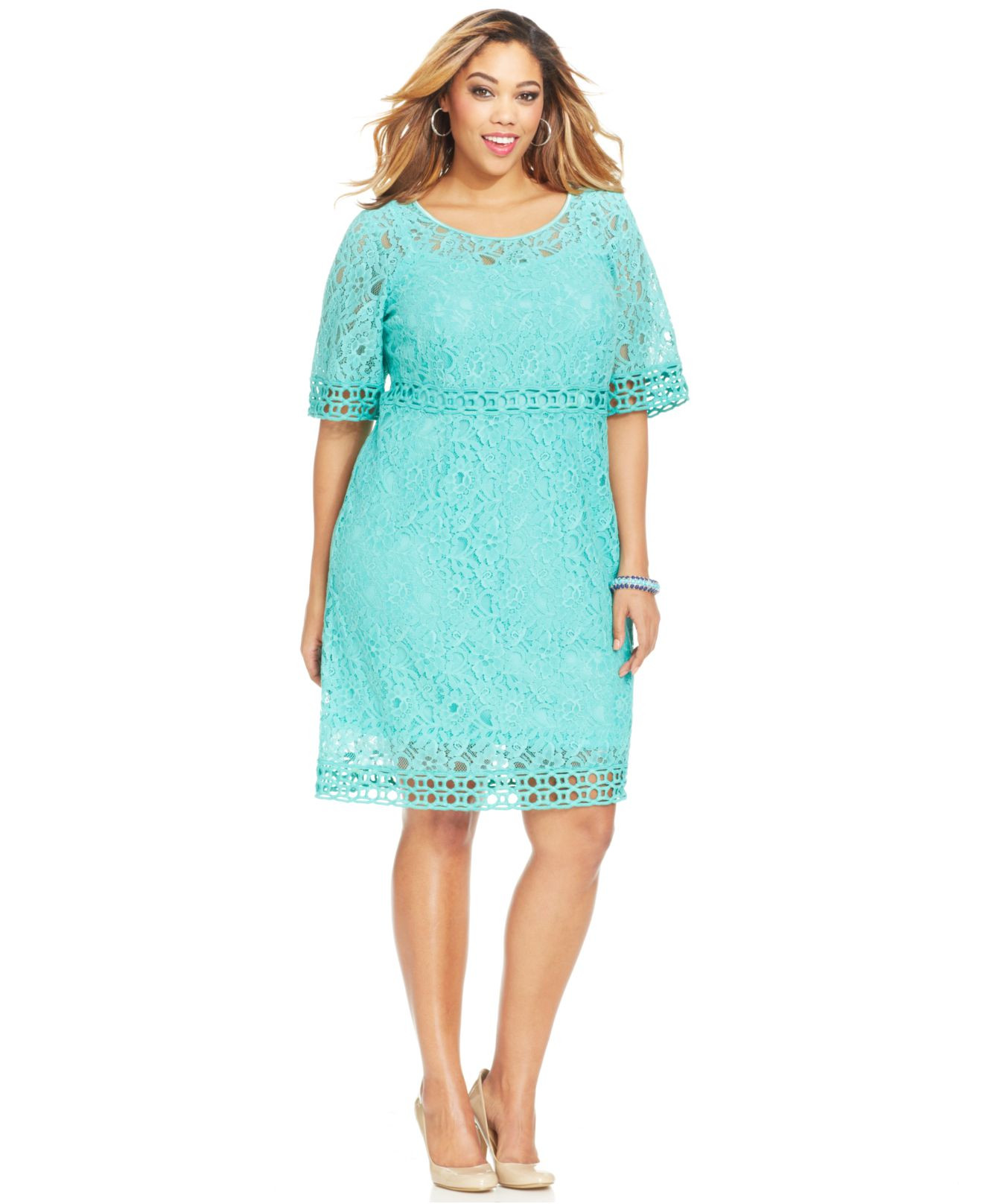 Inspirational Spense Plus Size Crochet Trim Lace Dress In Green Crochet Trim Dresses Of Attractive 47 Images Crochet Trim Dresses