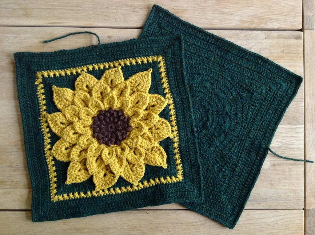 Suvi s Crochet Sunflower Pillow and a Squared Circle