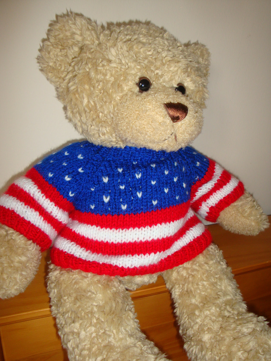 Teddy Bear Sweater Hand knitted Stars and Stripes USA