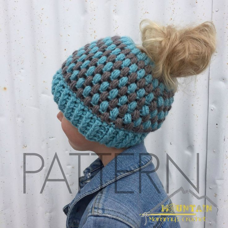 This puff stitch messy bun beanie is quick to work up