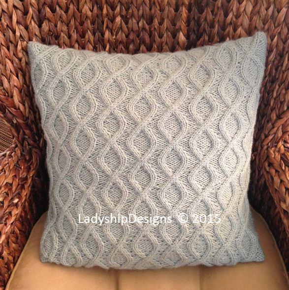 Twists & Turns cable knit pillow cover by LadyshipDesigns