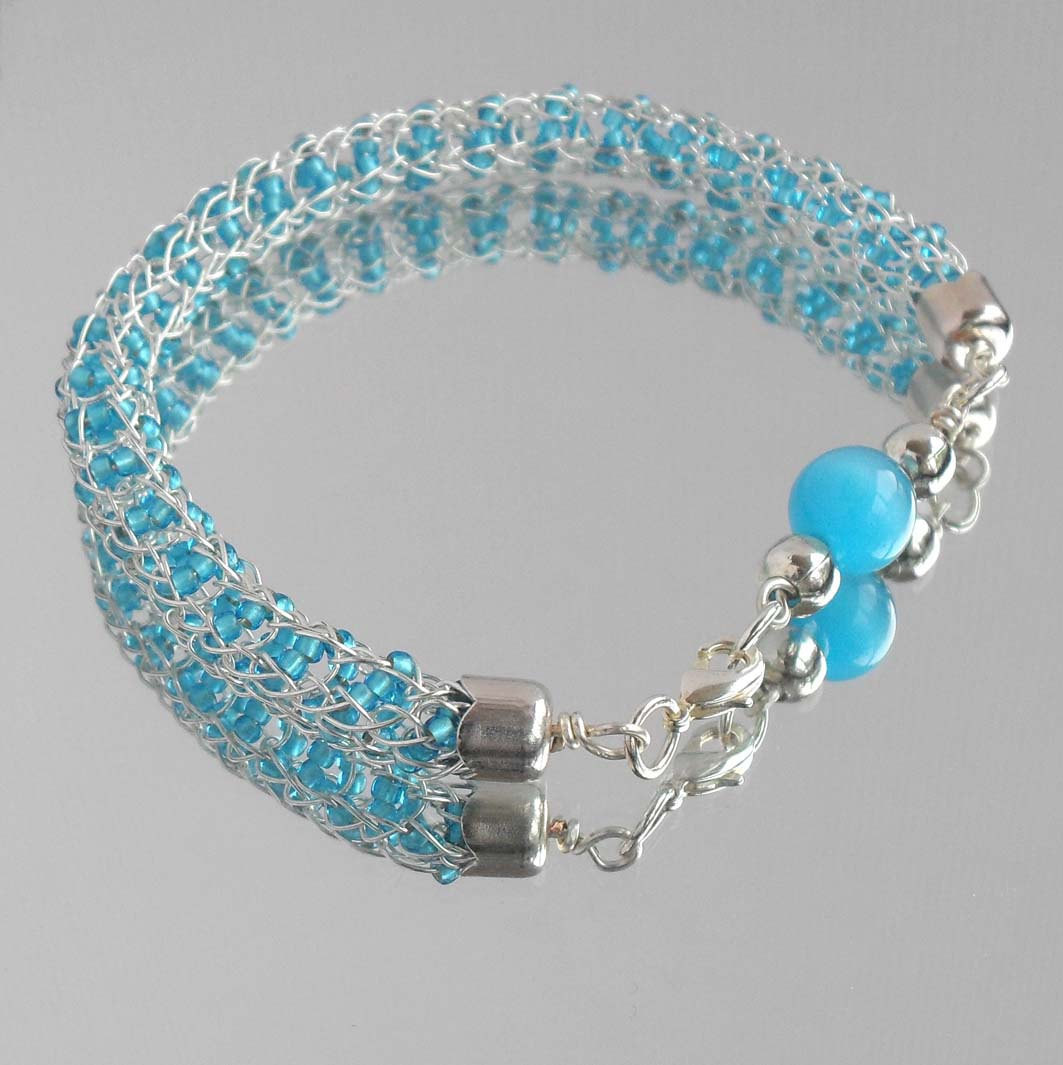 Inspirational Viking Knit Rope Seed Bead Bracelet Sky Blue Silver by Knitted Bracelet Of Brilliant 50 Models Knitted Bracelet