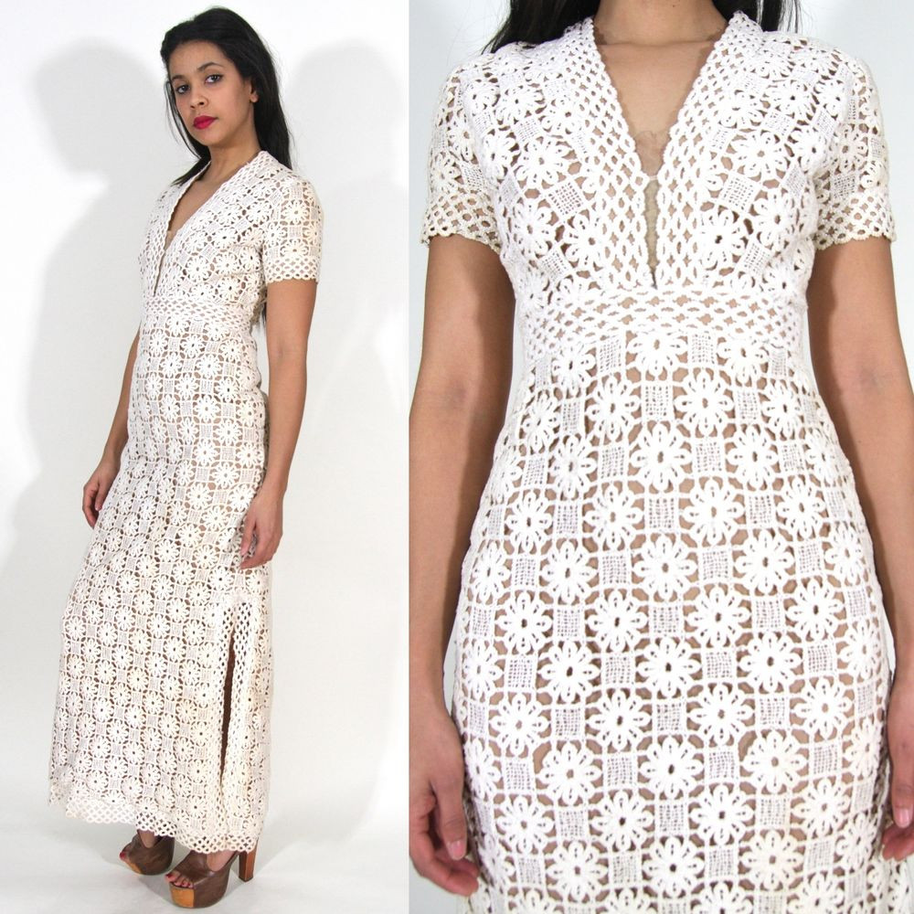 Vtg 60s 70s White Ivory Crochet Cut Out Lace Plunging Maxi