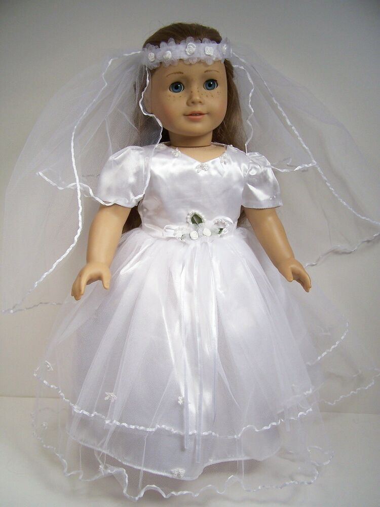 Inspirational White Bride Wedding Christening Dress Doll Clothes for 18 American Girl Doll Wedding Dress Of Elegant Handmade 18 Doll Wedding Dress Five Piece by Creationsbynoveda American Girl Doll Wedding Dress