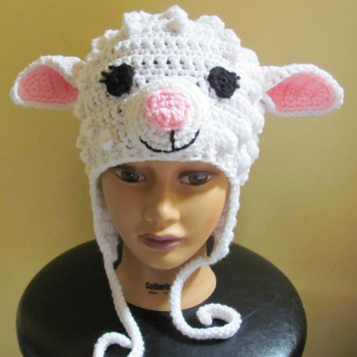 Inspirational White Sheep Lamb Crocheted Earflap Hat Made to order In Lamb Hat Of Awesome 46 Images Lamb Hat