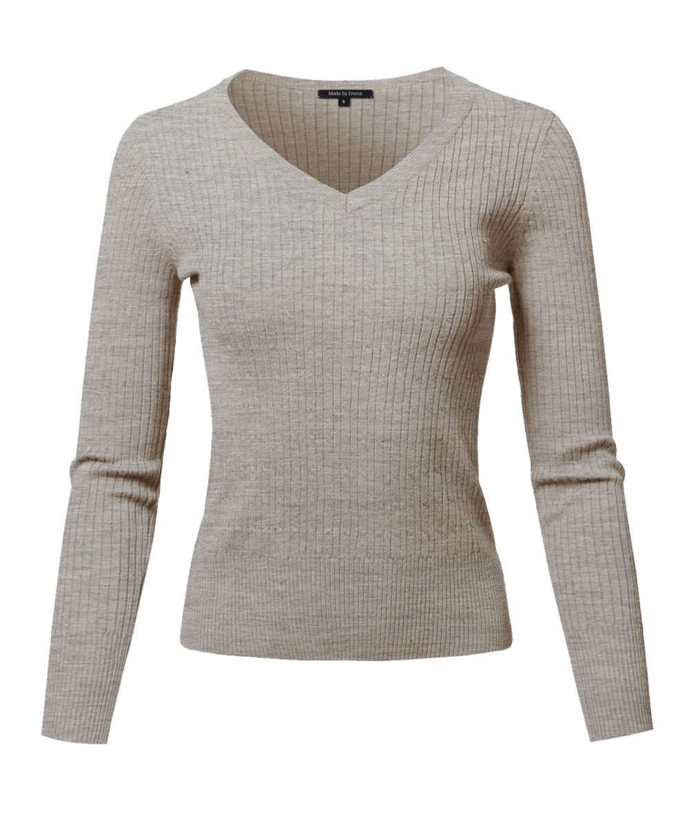 Women s Basic Long Sleeve V Neck Cable Knit Classic