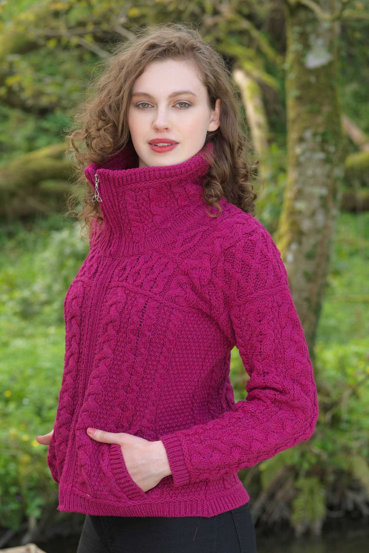 Inspirational Women S Chunky Zip Aran Cardigan Raspberry Irish Aran Sweater Of Fresh 40 Pics Irish Aran Sweater