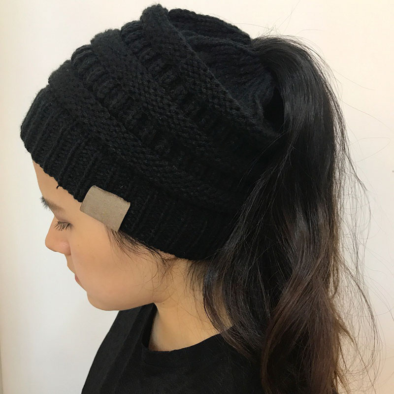 Inspirational Women Stretch Knitted Beanie Hat Messy High Bun Ponytail Ponytail Winter Hat Of Incredible 45 Pictures Ponytail Winter Hat