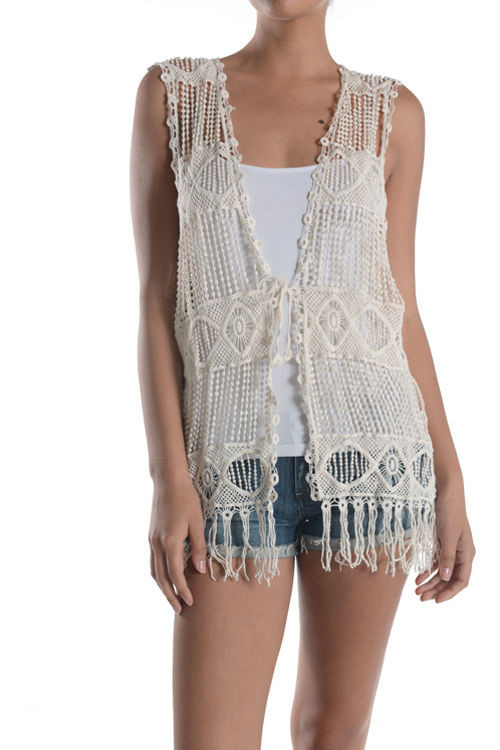 Women Summer Boho Sleeveless Front Open Lace Crochet Knit