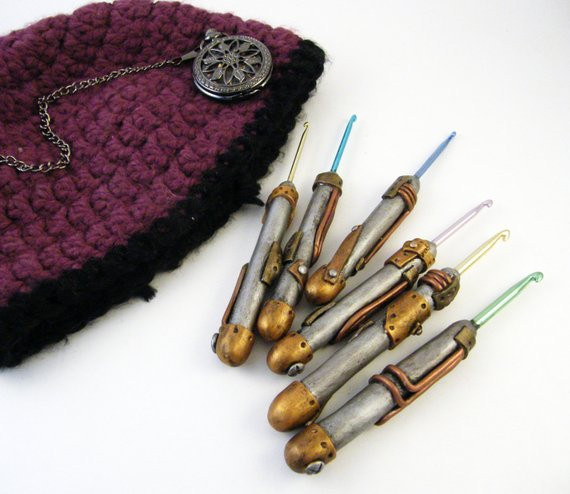 Steampunk Polymer Clay Crochet Hooks Set of 6 F K from