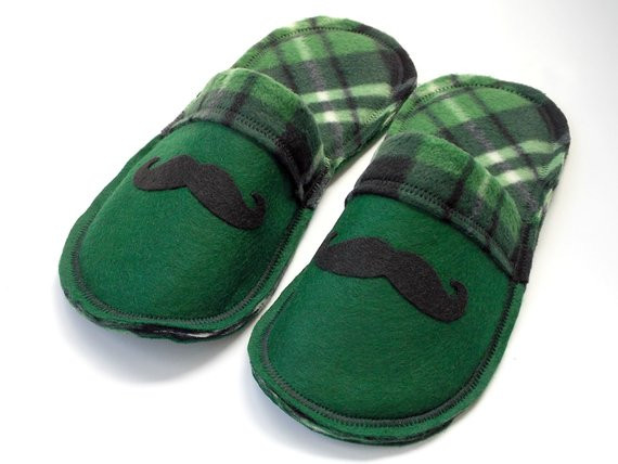 Items similar to Boys Slippers Mustache Green Plaid House