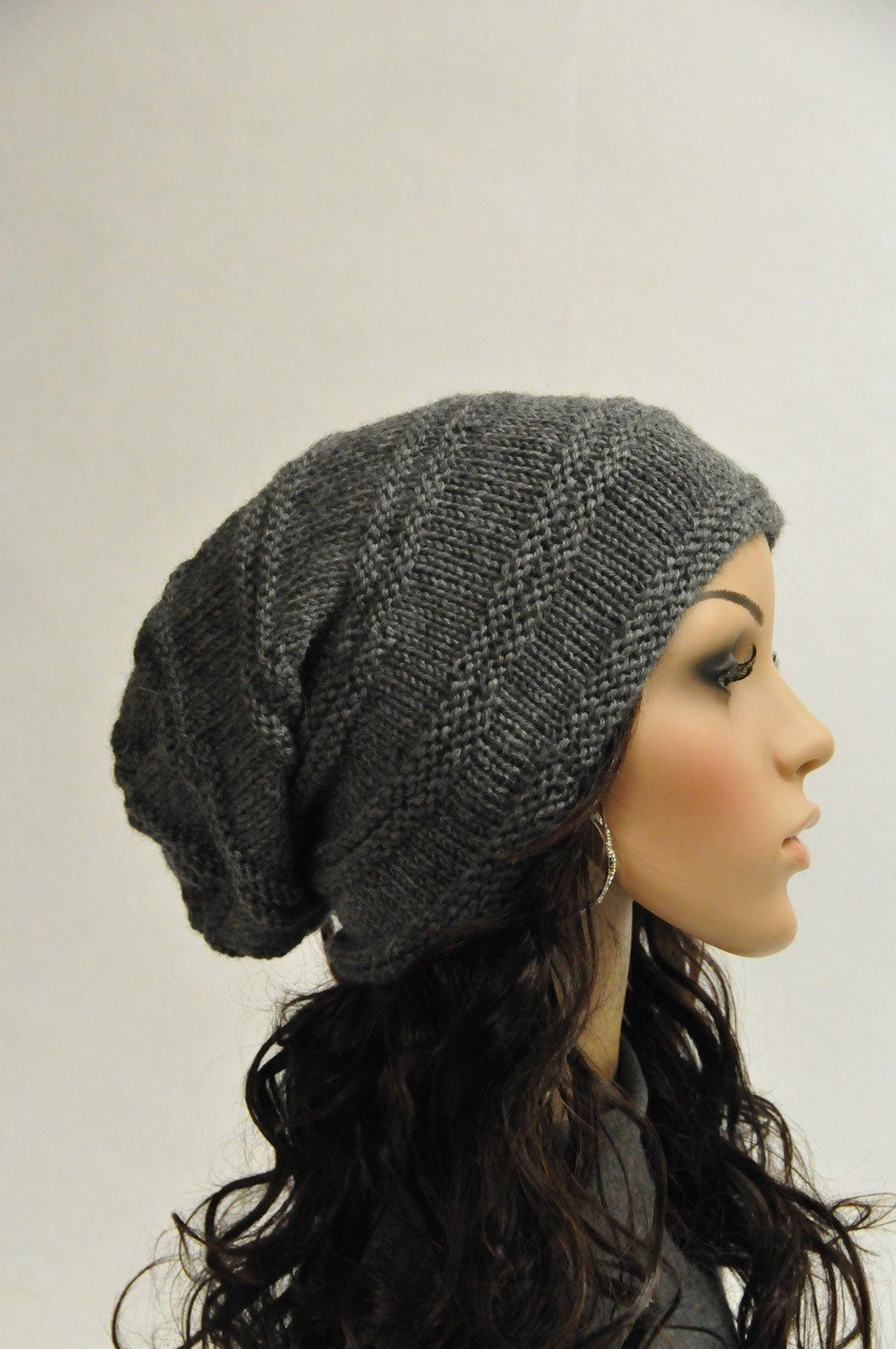 Knit Beanie Luxury Hand Knit Slouchy Hat Charcoal Grey Wool Hat Ready to Ship Of Amazing 50 Models Knit Beanie