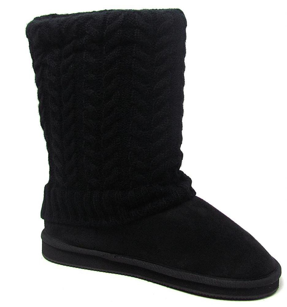 Knit Boots Awesome Womens Black Sweater Boots Fashion Mid Calf Foldover Cable Of Luxury 48 Photos Knit Boots