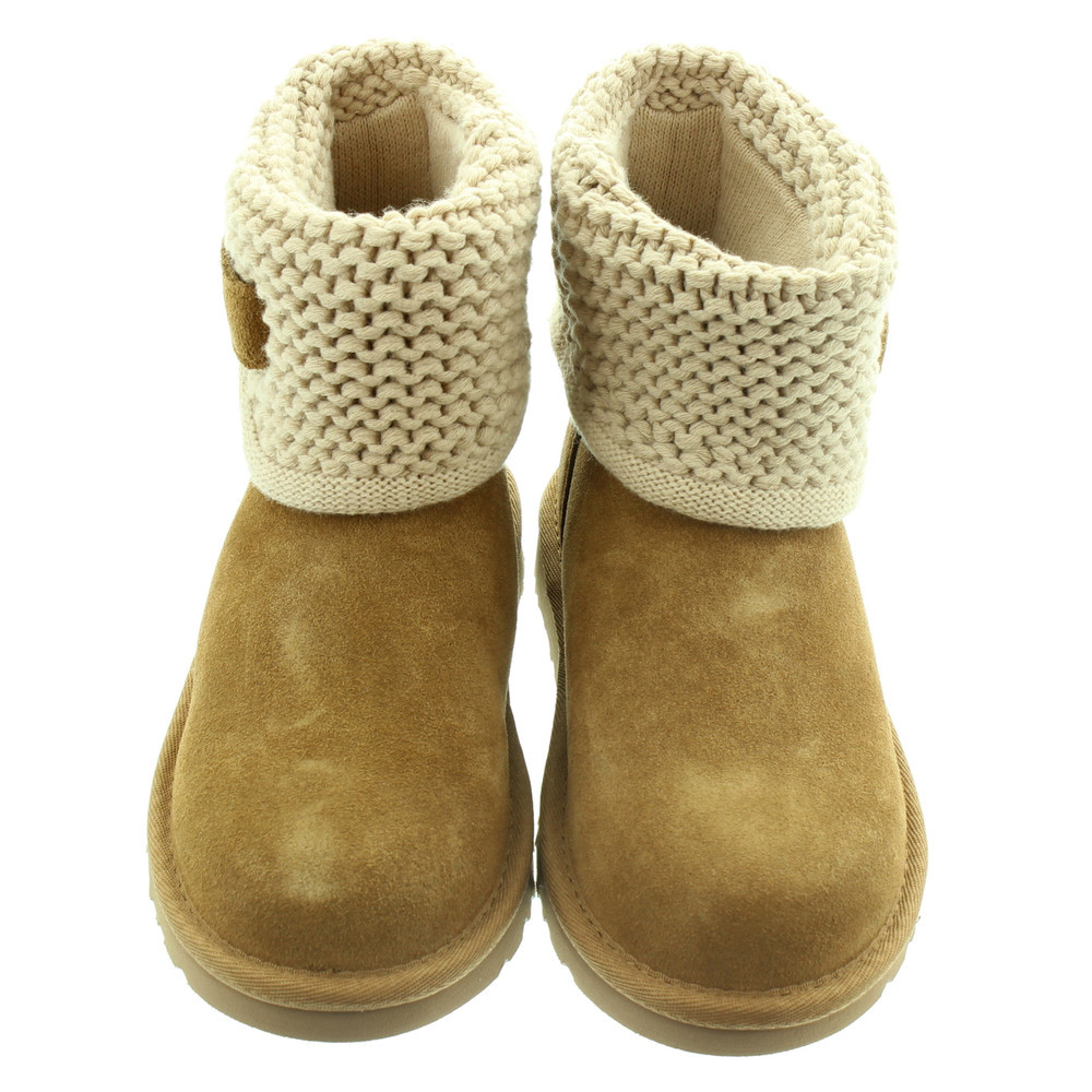 Ugg Kids Darrah Knit Boots In Chestnut in Chestnut