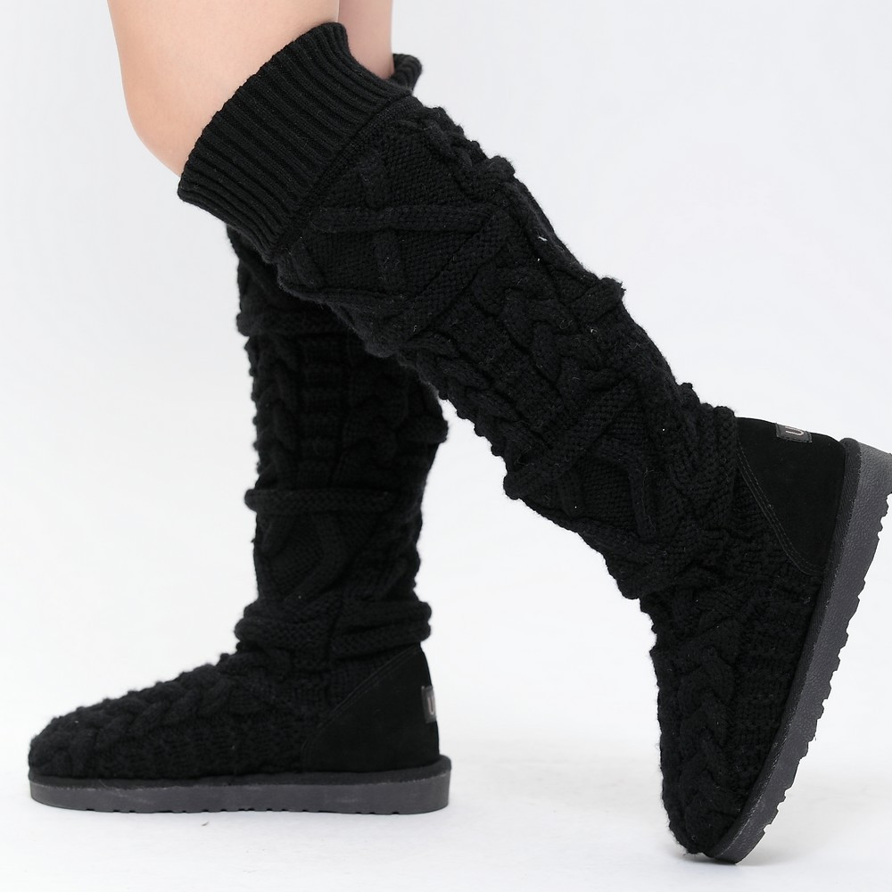 Knit Boots Elegant 2014 Winter Warmly Knitted Snow Boots Women S High Leg Of Luxury 48 Photos Knit Boots