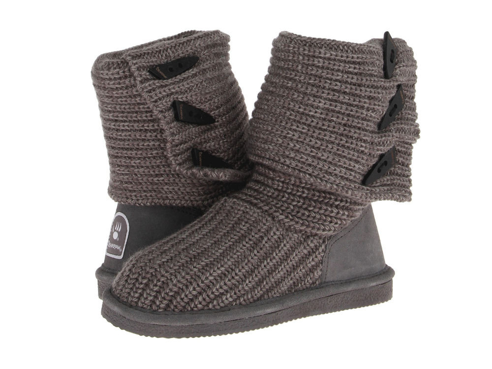 Women Bearpaw Knit Tall Boot 658W Gray Authentic