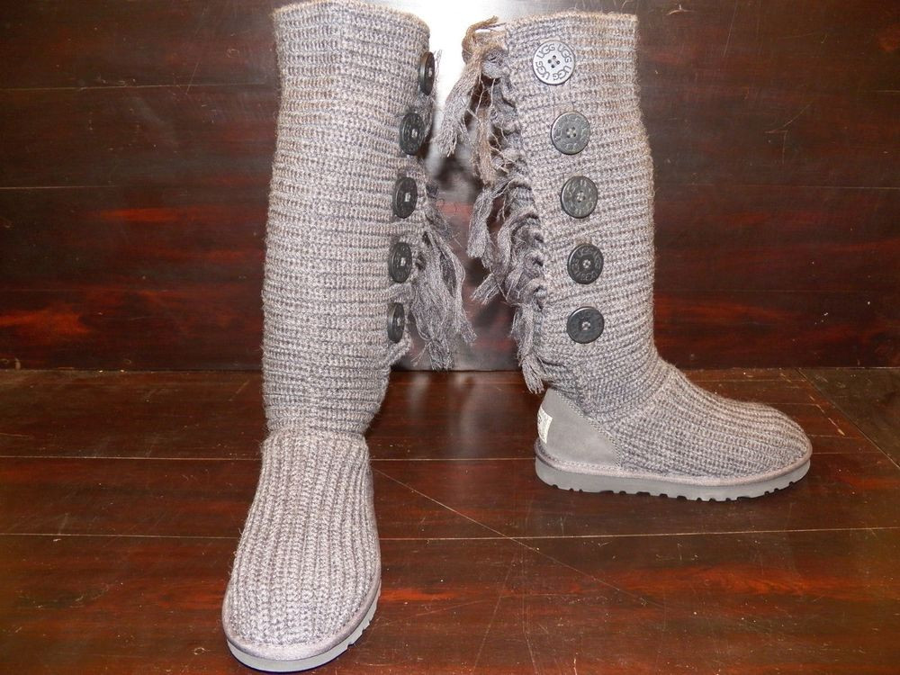 Knit Boots Lovely New Rare Womens Ugg Cardy Fringe Charcoal Grey Tall Boots Of Luxury 48 Photos Knit Boots
