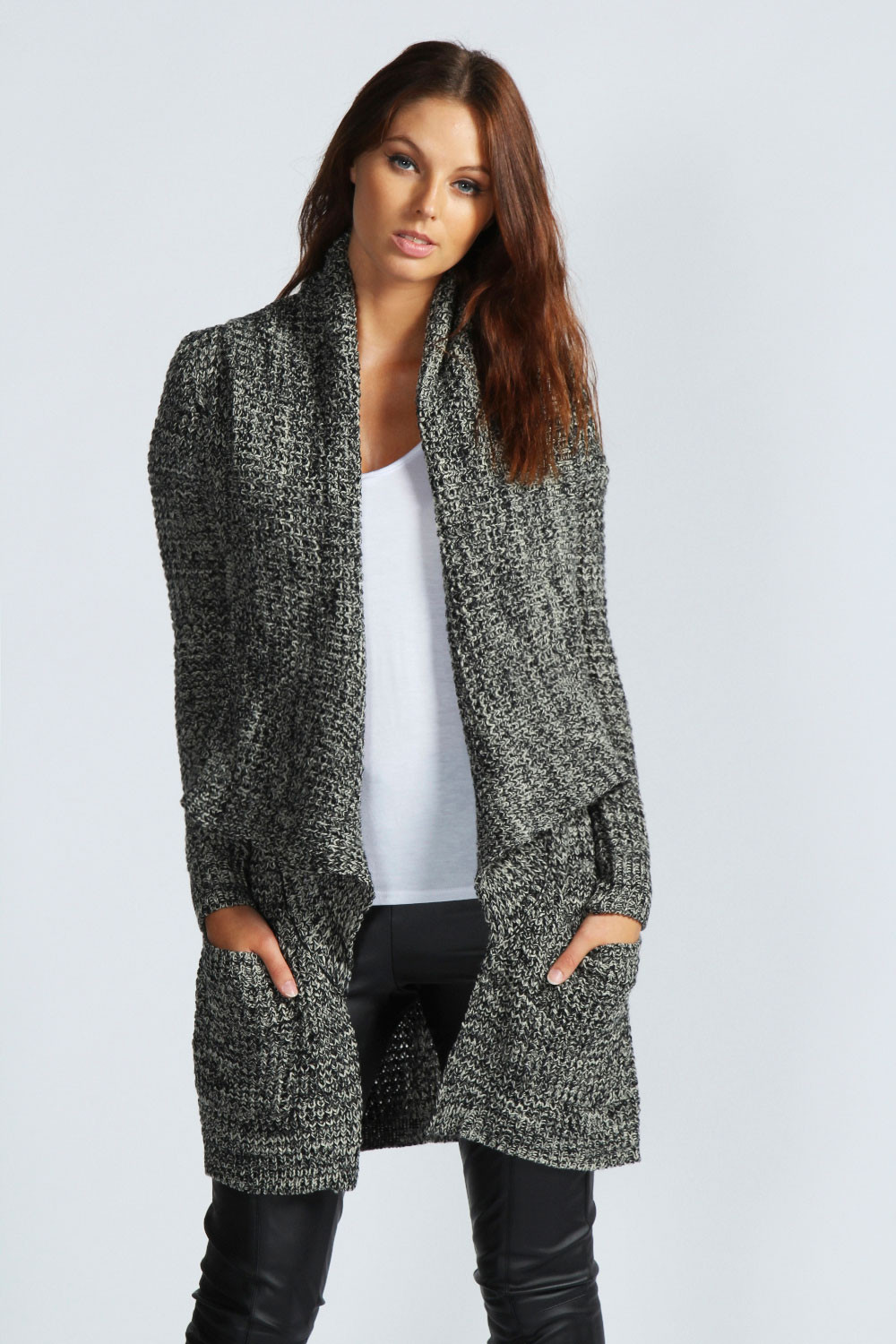 Knit Cardigan New Boohoo Aliah Chunky Marl Knit Oversized Cardigan Of Delightful 41 Ideas Knit Cardigan