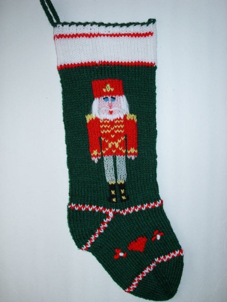 Christmas stocking hand knit personalize Nutcracker motif