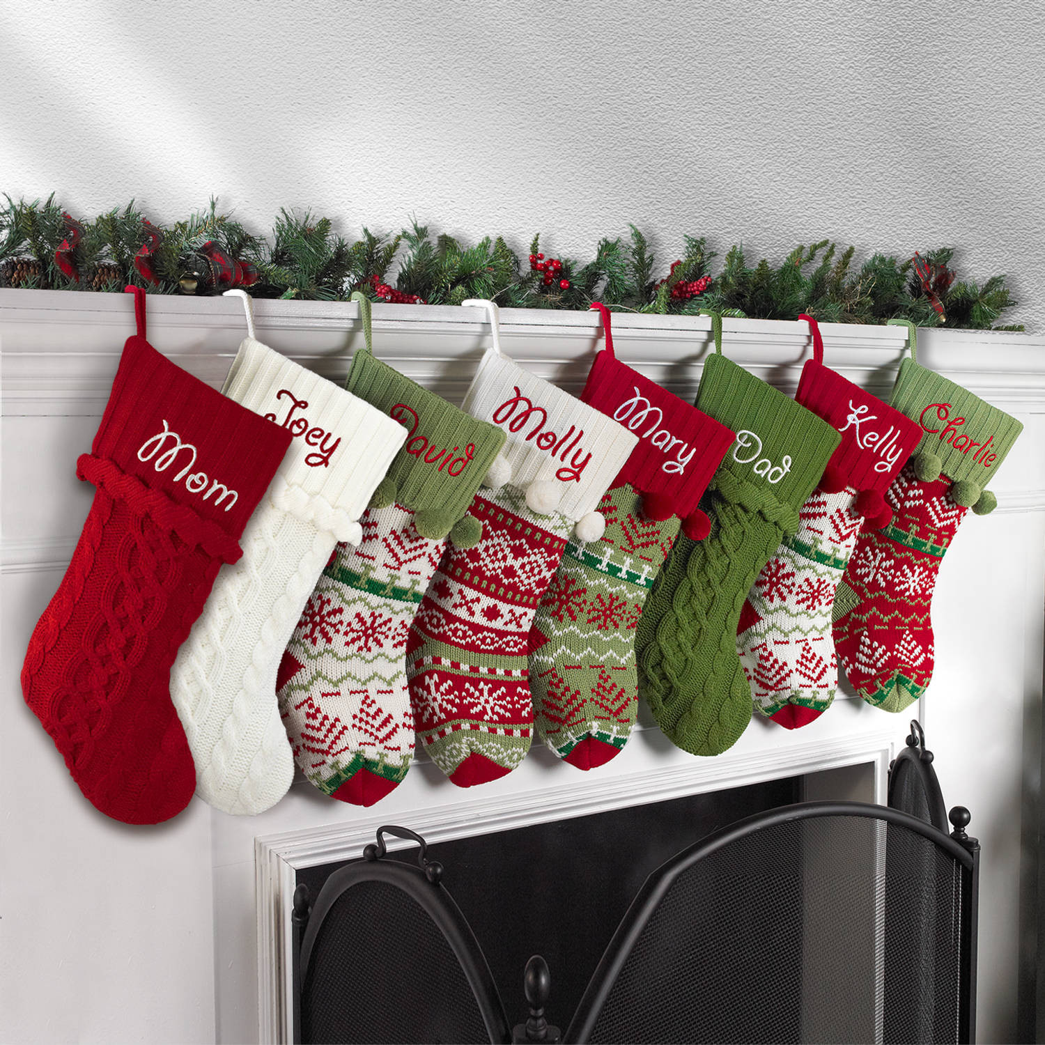 Knit christmas stockings in the authentic red green and